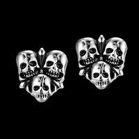 Mens Silver Skull Stainless Steel Studs Earrings Jewelry Ear Punk Cool Skeleton