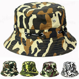 459620af0f6 Men Women Camouflage Camo Bucket Hat Cotton Summer Outdoor Camping ...