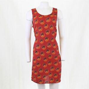 Vtg 90s Y2K Crinkle Rust Floral Grunge Slip Sun Mini Dress 16 OTOT