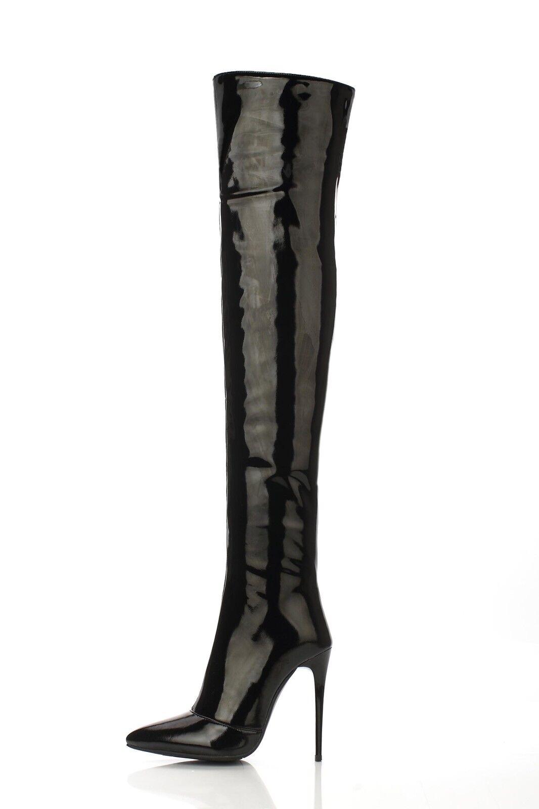 Damenschuhe Stiefel Hoher Stiletto Lackleder Overknee Reißverschluss Gr.34-43