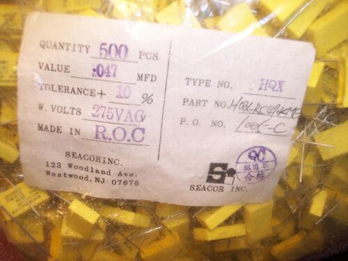 50 .047uf 275Vac 10/% METALLIZED POLYPROPYLENE CAPACITORS HQX-RC470KME QTY