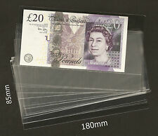 High Quality Acid Free Banknote Sleeves 85mm x 180mm = 25 Pieces Brand New