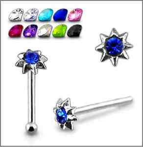 1-22g-6mm-Sterling-SIlver-CZ-Gem-Stone-Sun-Flower-Nose-Stud-Ring-Bone-Pin-N144