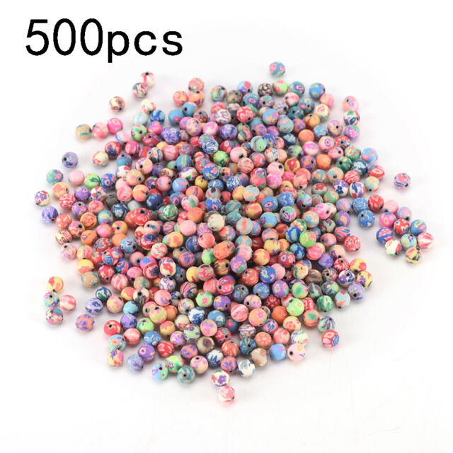 500pcs 6mm mixed flowers polymer fimo clay round diy findings loose beads ATAU