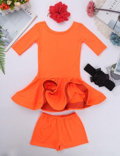 Girls Kids Latin Dance Dress Costume Ballroom Salsa Tango Cha Cha Dancewear Sets
