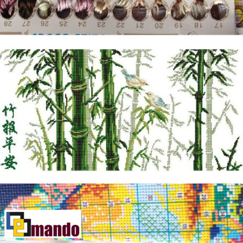 "New Stamped Cross Stitch Kit /""Bamboo/"" 13/""x24.5/"" printed design"