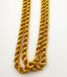 8390c73977248 Details about 22K YELLOW SOLID GOLD CHAIN ROPE DESIGN MODERN NECKLACE 3 MM  MEN UNISEX JEWELRY