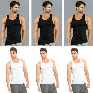 2d66893d94aae 6 PK Mens Black White Tank Top 100% Cotton A-Shirt Wife Beater ...