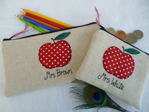 Red Apple on Linen Choice of Wording Personalised Teacher Purse or Pencil Case