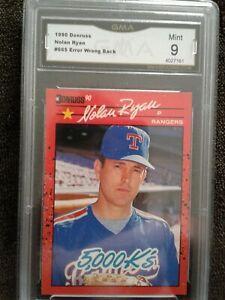 1990 donruss baseball Nolan Ryan error card #665 WRONG BACK Graded Mint 9 by GMA