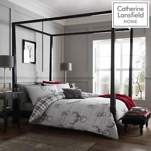 Catherine-Lansfield-Duvet-Set-Highland-Stag-Reversible-Check-Bedding-Grey