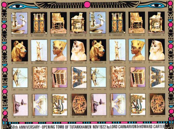 Antiguo Egipto Ancient Egypt Hoja Sheet 32 Stamps Sculpture Tut Ships God Ajman