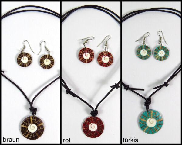 Ein Set: Halskette + Ohrringe Perlmutt Shivas Auge Muschel Versch. Farben Neu!! Durch Wissenschaftlichen Prozess