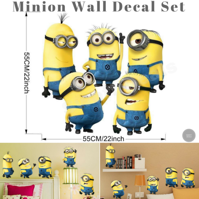 5 Minions Despicable Me 2 Removable Wall Stickers Decal Kids Room Home  Decor DIY