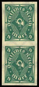 Germany-1922-4m-POSTHORN-IMPERFORATE-PAIR-MNH-179-var-vertical-pair