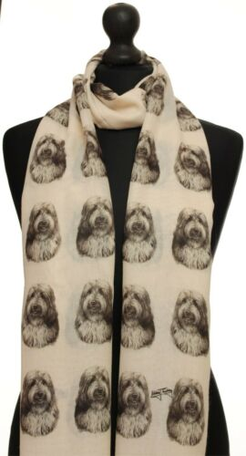 scarf with Bearded Collie dog on womens fashion printed shawl wrap mike sibley