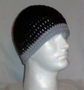Hand Crochet Mens Skull Cap Beanie Hat Zac Brown Band Black N Gray