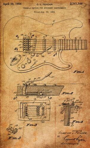 "057 Blueprint FenderTremolo Guitar 24/""x39/"" Poster"