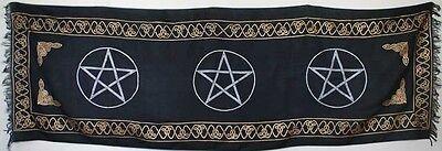 Triple Black Pentagram Altar Cloth 22 x 72 Wiccan Pagan Altar Supply 79WP