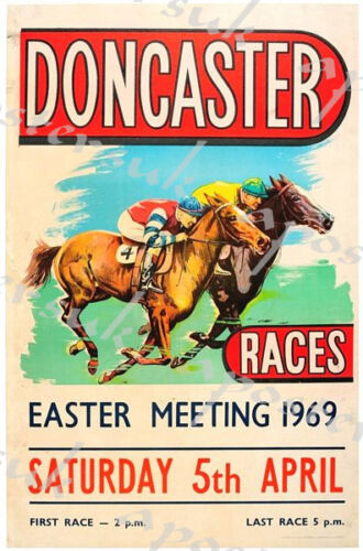 Vintage 1969 Doncaster Horse Racing Poster A3//A4 Print