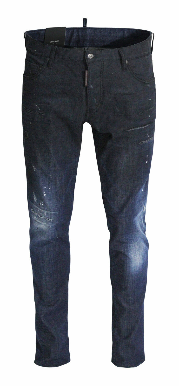DSQUArot SLIM JEANS WASHED DESTROYED DUNKELBLAU DENIM JEANS S74LB0018 GR 46 NEU