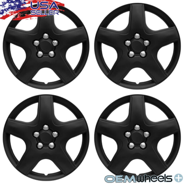 """4 New OEM Matte Black 15"""" Hubcaps Fits Acura FWD SH-AWD"""