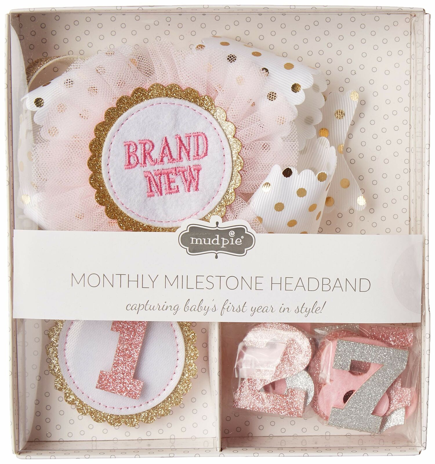 Mud Pie E9 The Kids Shoppe Girl Baby 1st Year Monthly Milestone Soft Headband