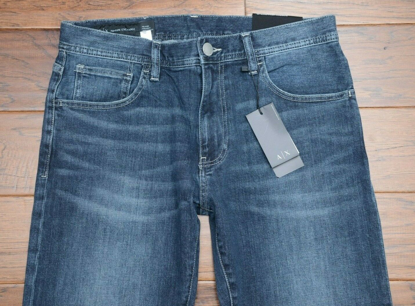 Armani Exchange A X Men's Relaxed Straight Fit Stretch Cotton DK bluee Jeans 32