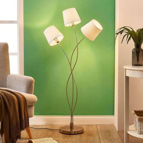 Stehlampe Sharon Lampenwelt Dreiflammig Schirme Stoff Creme Stehleuchte Wohnraum