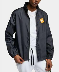 Nike Windbreaker Jacket Black M Hooded Just Do It Spellout Full Zip