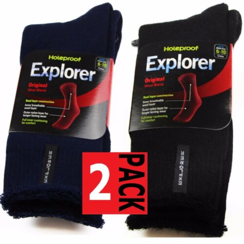 2 PACK MENS ORIGINAL HOLEPROOF EXPLORER WOOL BLEND WORK HIKING SOCKS BLACK NAVY
