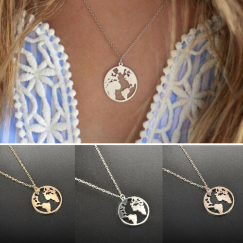 World Map Round Pendant Hollow Charm Collar Women Fashion Necklace Jewelry Gift