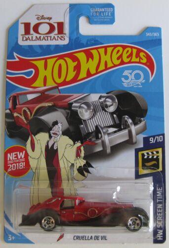 Hot Wheels 2018 HW Screen Time 9//10 CRUELLA DE VIL 101 Dalmatians