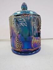 Vintage Carnival Glass Tall Candy Dish Vase W/ Lid Blue Iridescent Color 1802
