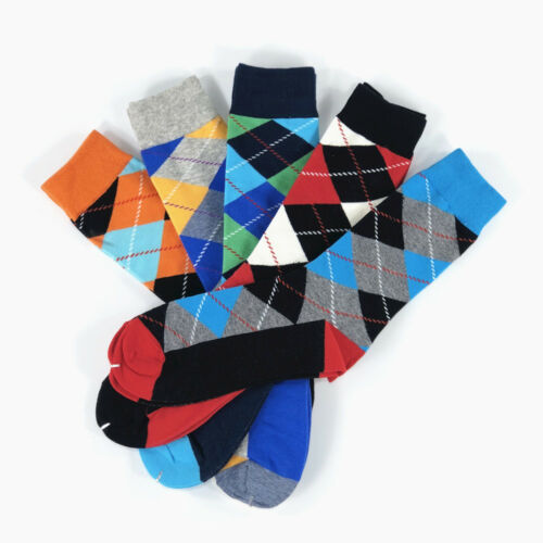5 Pairs Mens Cotton Socks Lot Fancy Colorful Diamond Casual Sox Wedding Gift BOX