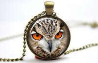 Owl - Vintage Antique Bronze Photo Glass Dome Necklace Pendant