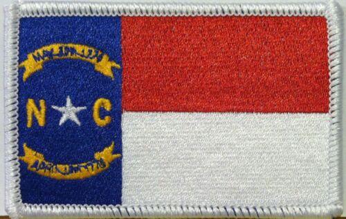 NORTH CAROLINA Flag PATCH With VELCRO® Brand Fastener Military White Border #3
