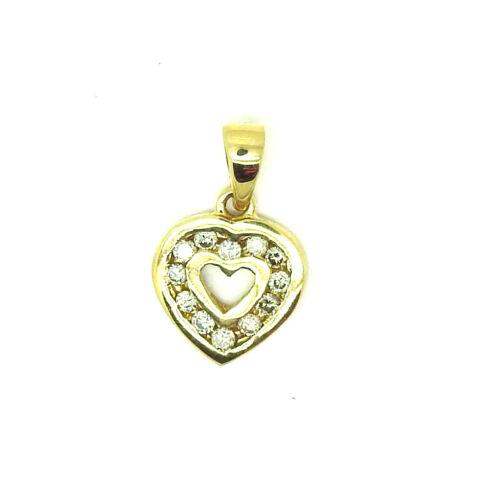 9ct Yellow Gold 5pt Channel Set Diamond Small Heart Pendant                96238