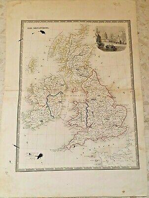 Cartina Geografica Gran Bretagna E Irlanda.Antica Carta Geografica Della Gran Bretagna E Irlanda Ebay