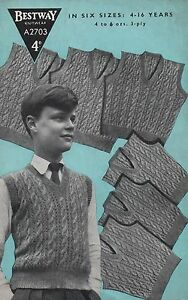 73c48b36e Image is loading Vintage-Knitting-Pattern-Boys-Cable-Vest-Tank-Top-