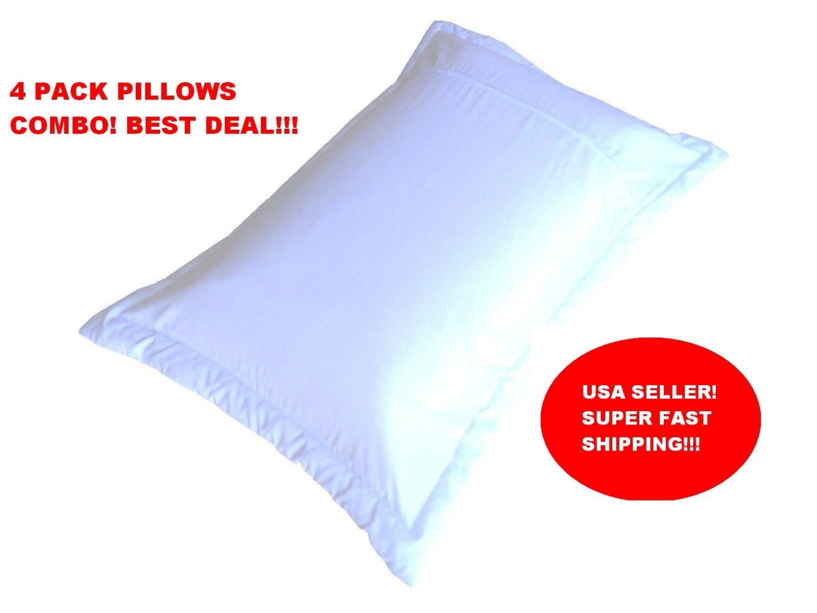 4x Queen Micro Gel Memory Foam WHITE Bed Pillows + Down alternative filled Cover