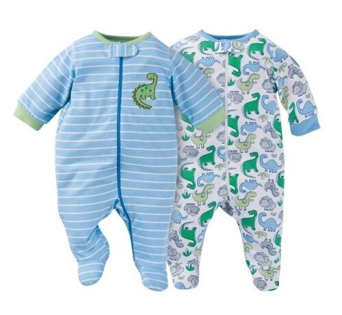 Gerber Boy 2-Pk Blue w// Dinosaurs Zip Front Sleep N Plays Size 0-3M BABY CLOTHES