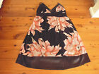 LADIES CUTE BLACK PINK FLORAL POLYESTER LINED DRESS - NO LABEL - SIZE 12/14