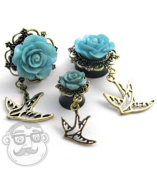 "1 Pair of Blue Rosebud & Swallow Dangle Plugs Sizes / Gauges (00G - 7/8"") NEW!"