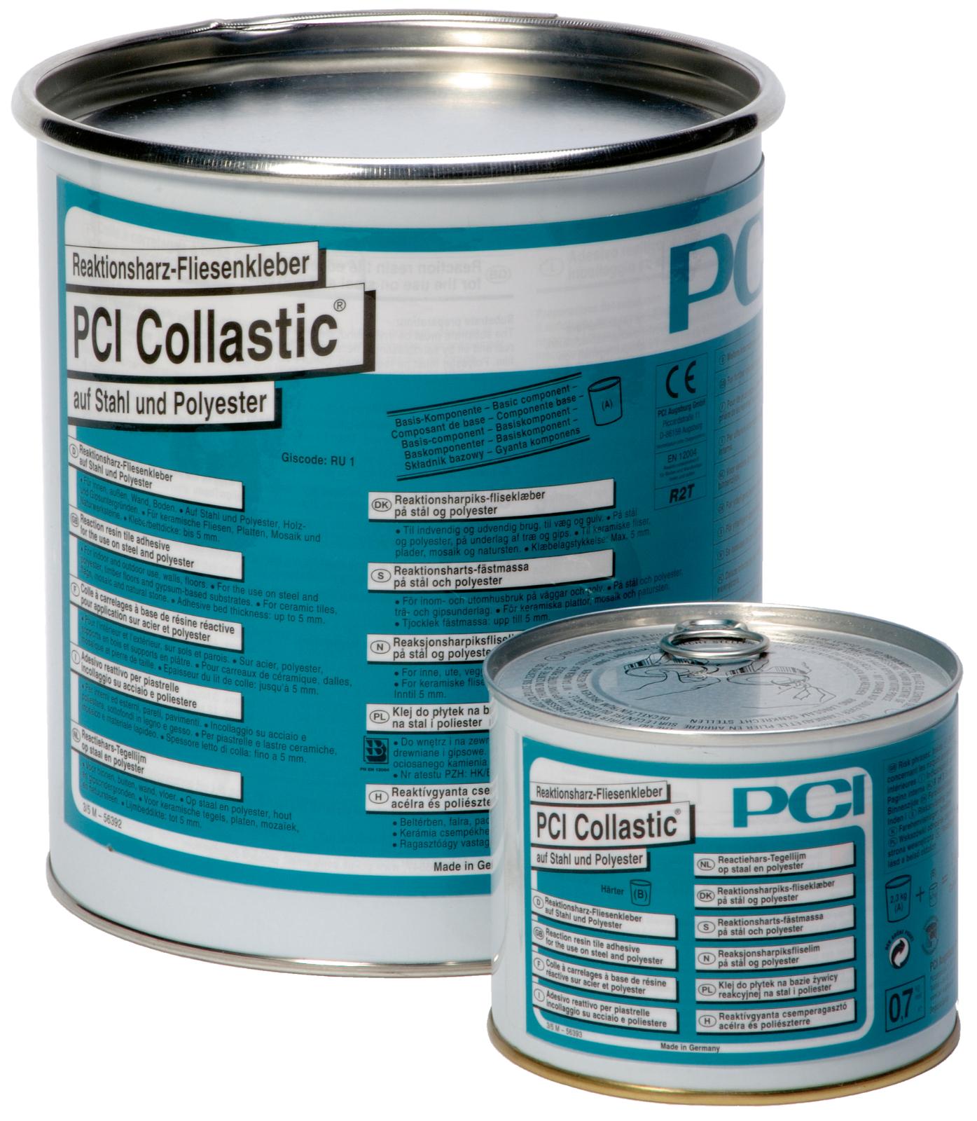 PCI Collastic Reaktionsharz-Fliesenkleberauf Stahl und Polyester hellblau 3 kg