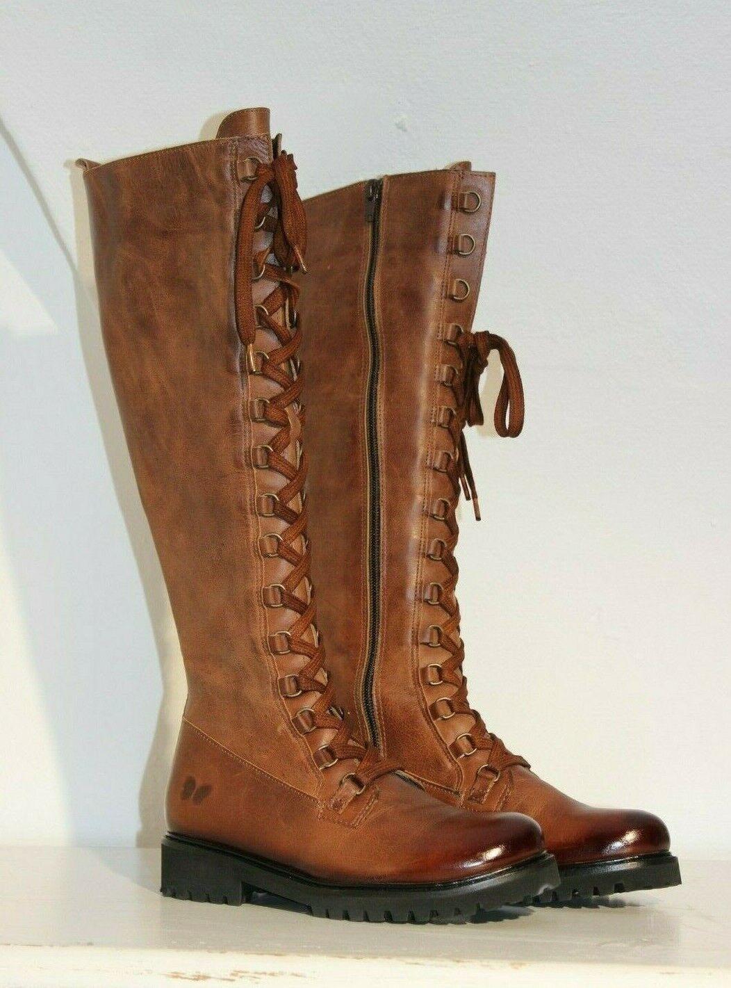 Felmini NEU Leder-Schnür-Stiefel Gr.39 Cognac-Braun Uraco Santiago
