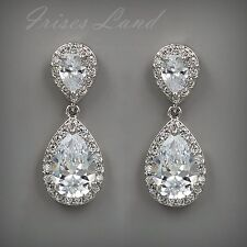 18k White Gold Plated Cubic Zirconia Cz Wedding Bridal Drop Dangle Earrings 5315