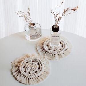 Boho-Makramee-Untersetzer-Rund-Weben-Baumwolle-Tischset-Tabelle-Mat-Party-Dekor