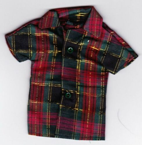 Green and Gold Plaid Shirt fit Ken Doll KC1 Homemade Doll Clothes-Red