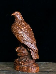 Collect Chinese fengshui Decor Exquisite Natural Boxwood Handmade Eagle Statue
